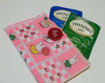 pink cotton tea wallets,rabbits,cats,foxes,eco friendly,under 10 dollars,tea wallet,tea bag holder,tea bag caddy,travel teabag