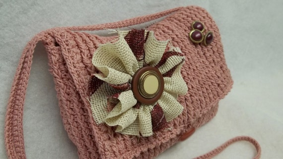 Pink upcycled Crochet woman teen shoulder-clutch purse,handbag,women,removable flower brooches,clutch bag,pink crochet purse,woman purse