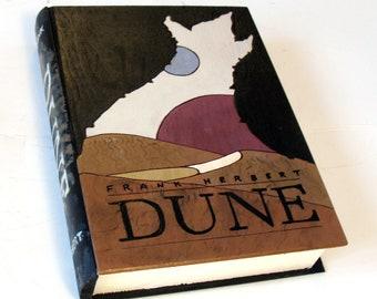Secret compartment box, hollow book - Frank Herbert's Dune wooden hideaway book box.  Hidden safe.