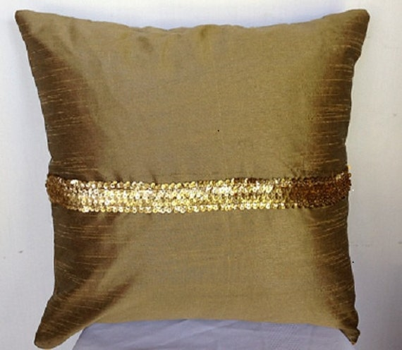 Gold Brown Throw Pillows : Items similar to Gift for her, Gold sequin pillows, Gold brown cushion cover-Silk Sequin Toss ...