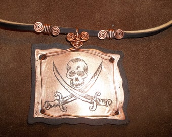 Copper and Leather Pirate Flag Jolly Roger Necklace Calico Jack Steampunk