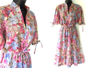 70s Khaki with Pink and Blue Floral Print Dress M
