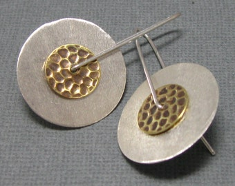 Medium Sterling Layered Pendulum Earrings, Artisan Mixed Metal Jewelry, Sterling Silver and Hammered Brass Earrings