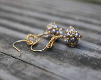 Hand Beaded Lavender  Earrings with Vermeil rings and 14k gold filled ear wires