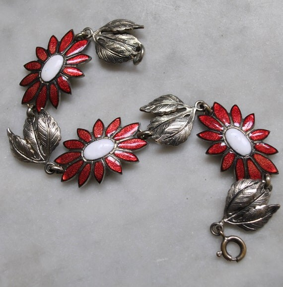 Beautiful Enameled Flower Bracelet with Silver Leaves