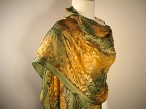 Silk Shawl Hand Painted Jade Green and Gold Luxuriously Large-Ready to Ship