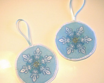 Machine Embroidered Snowflake Ornament or Gift Tag