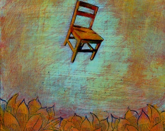 original painting by Irene Stapleford, original art, one of a kind - Hovering Chair, Lotus Blossoms - wantknot shop