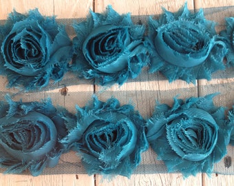 Shabby Chic  Rose Trim in TEAL 2 1/2 inch- 1/2 yard