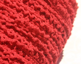 """Red Cluny Lace - Narrow Red Cotton Crochet Trim - 1/2"""" Wide - 10 Yards - LAST OF SPOOL"""