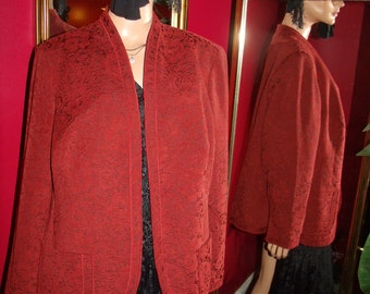 Vintage Red   Flapper Boho style Relaxed Fit  Jacket Size Plus 1X
