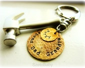 Personalized Dad Keychain, Grandfather, Tools, Custom Hand Stamped Brass Disc