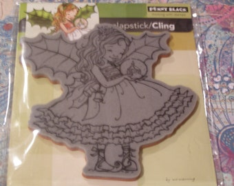 Fairy Holly Slapstick Penny Black Cling foam-mounted Stamp