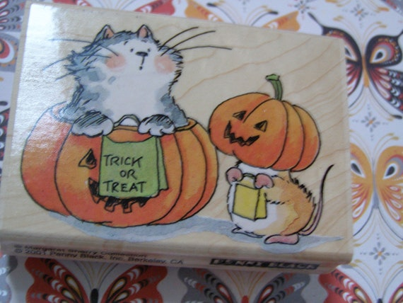 Trick or Treat Halloween wood mounted Penny Black Rubber Stamp