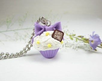 Purple Bow Eat Me Cupcake Necklace - Food Jewelry , food necklace polymer clay