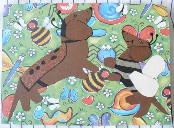 Dachshund Bugs Card Anytime Ladybug Bumble Bee Wiener Dogs Collage With Envelope