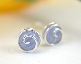 Blue lace agate post earrings rosebud spiral earrings gemstone 925 sterling silver or 14k gold filled wire wrapped stud earrings periwinkle