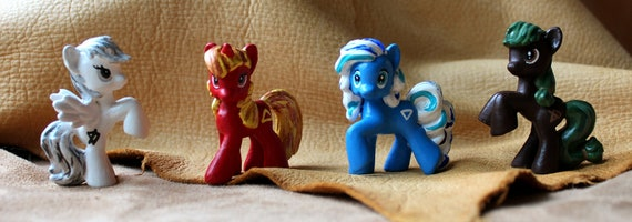My Little Pony: Alchemy is Magic - set of four custom repaint G4 blind bag MLP ponies Earth, Air, Fire and Water