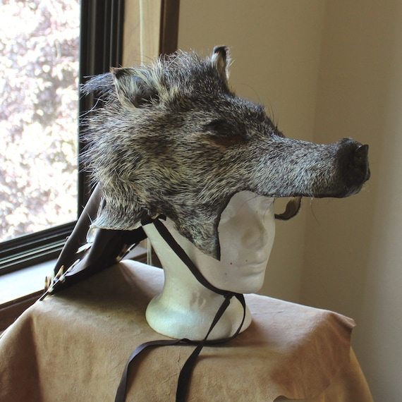Wild Boar Headdress - javelina totem headdress with deerskin veil, African and American porcupine quills, shell jingles for shamanic dance