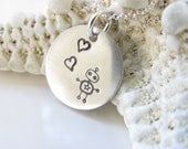Robot Love Necklace - Hand Stamped - HandMade - Sterling Pendant - Silver Robot Necklace - Ready to Ship - Robot Pendant - Sterling Necklace