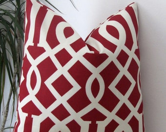 Indoor/Outdoor Trellis in Cherry Decorative Cushion Cover- Designer Pillow Cover- Pillowcase 18""