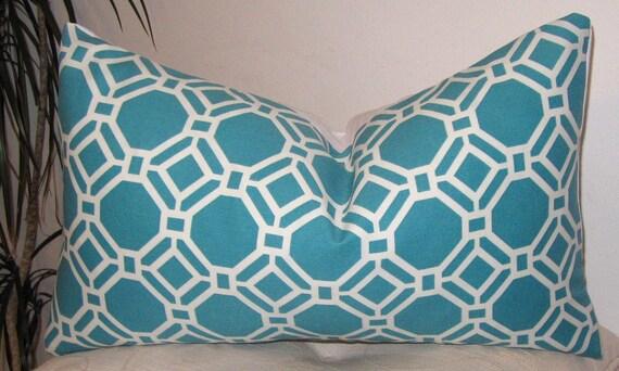 "Geometric Indoor/Outdoor Rossmere Caribbean - Designer Pillow Cover- 12""x18"", 12"" x 20"" or 18""x18"""