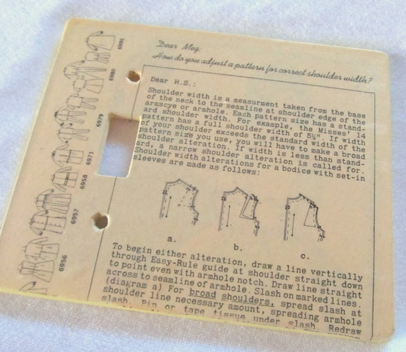 vintage sewing pattern instructions SEAMSTRESS  extra large size, single toggle light switch plate