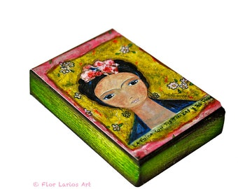 Frida y sus Trenzas - ACEO Giclee print mounted on Wood (2.5 x 3.5 inches) Folk Art  by FLOR LARIOS