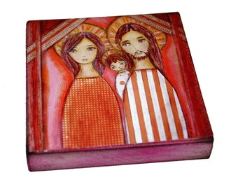 Holy Family-  Giclee print mounted on Wood (8 x 8 inches) Folk Art  by FLOR LARIOS