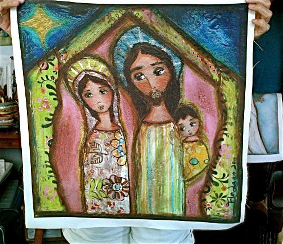 Nativity Night -  Print on Fabric from Original Painting ( 20 x 20 inches) by FLOR LARIOS