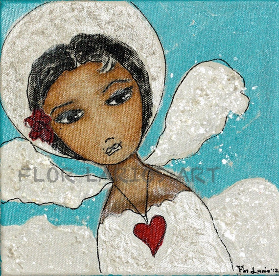 Free domestic Priority Shipping - Face of an Angel - Original Mixed Media Painting on 8 x 8 inches canvas Art by FLOR LARIOS