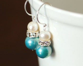 Blue and White Pearl Wedding Earrings, Rhinestones, Sterling Silver, Bridal Jewelry, Freshwater Pearls, Something Blue, Blue Pearl Earrings