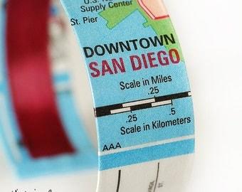 Downtown San Deigo Map Bracelet, California, Map Jewelry, Cuff Bracelet, Travel, Map Cuff