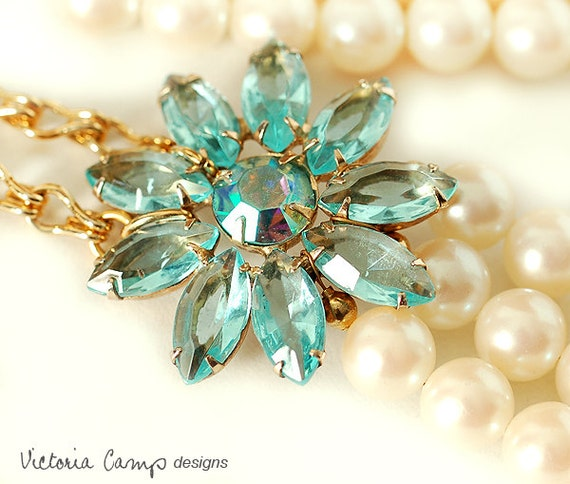 Ivory Pearl Wedding Necklace, Vintage Blue Rhinestone Flower Brooch, Multi Strand, Something Blue, Gold, Bridal Jewelry, Layered