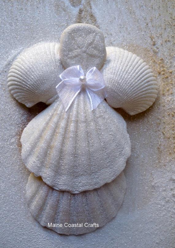 Items similar to seashell angel beach decor on etsy for Seashell ornaments craft