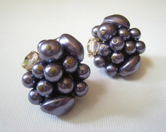 Vintage Purple Beaded Caviar Earrings
