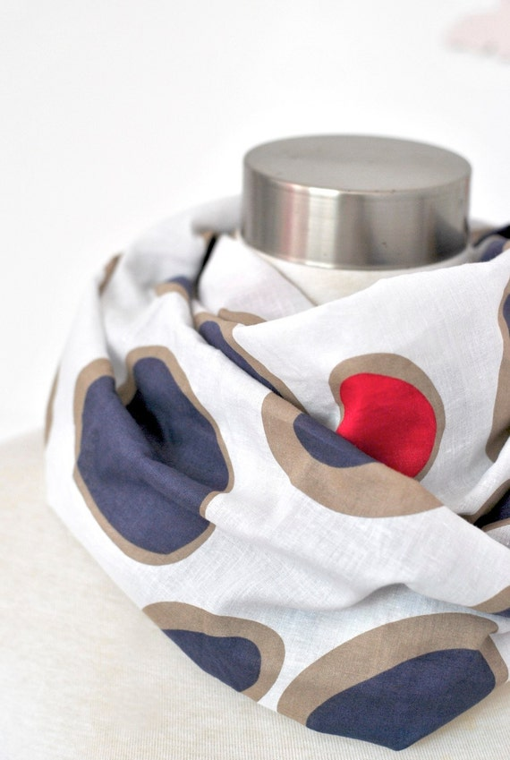 Soft circle infinity scarf in blue white red lightweight cotton voile.