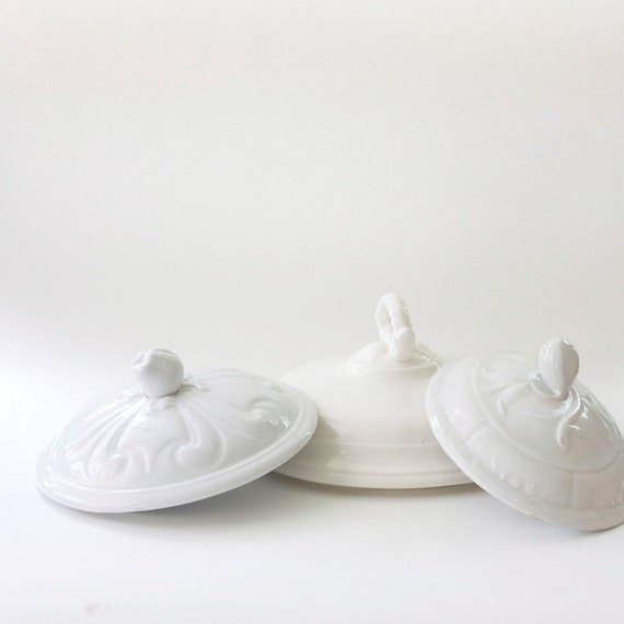 Ironstone Mixed Lids Instant Collection Three (3) White Antique Vintage