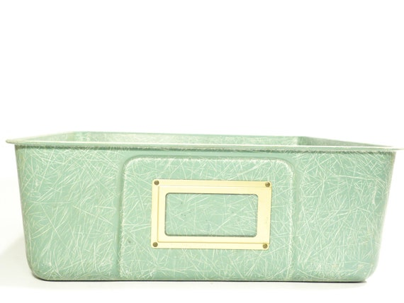 RESERVED for REBECCA mint green fiberglass bin . rare old school organizer drawer . 1960s seafoam green box for crafts, papers