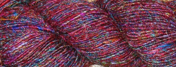 Recycled Sari Silk Yarn, 155 yards SUPER PREMIUM Handspun, Fair Trade, 3.6 oz