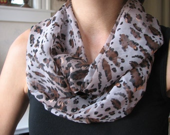 Animal Print with Copper/Gold Shimmer  Infinity Scarf