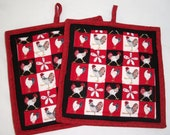 Chickens and Roosters on Parade Potholders Set of 2 Country Kitchen theme