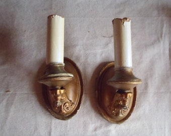 Vintage French  Gold Metal Wall Sconces