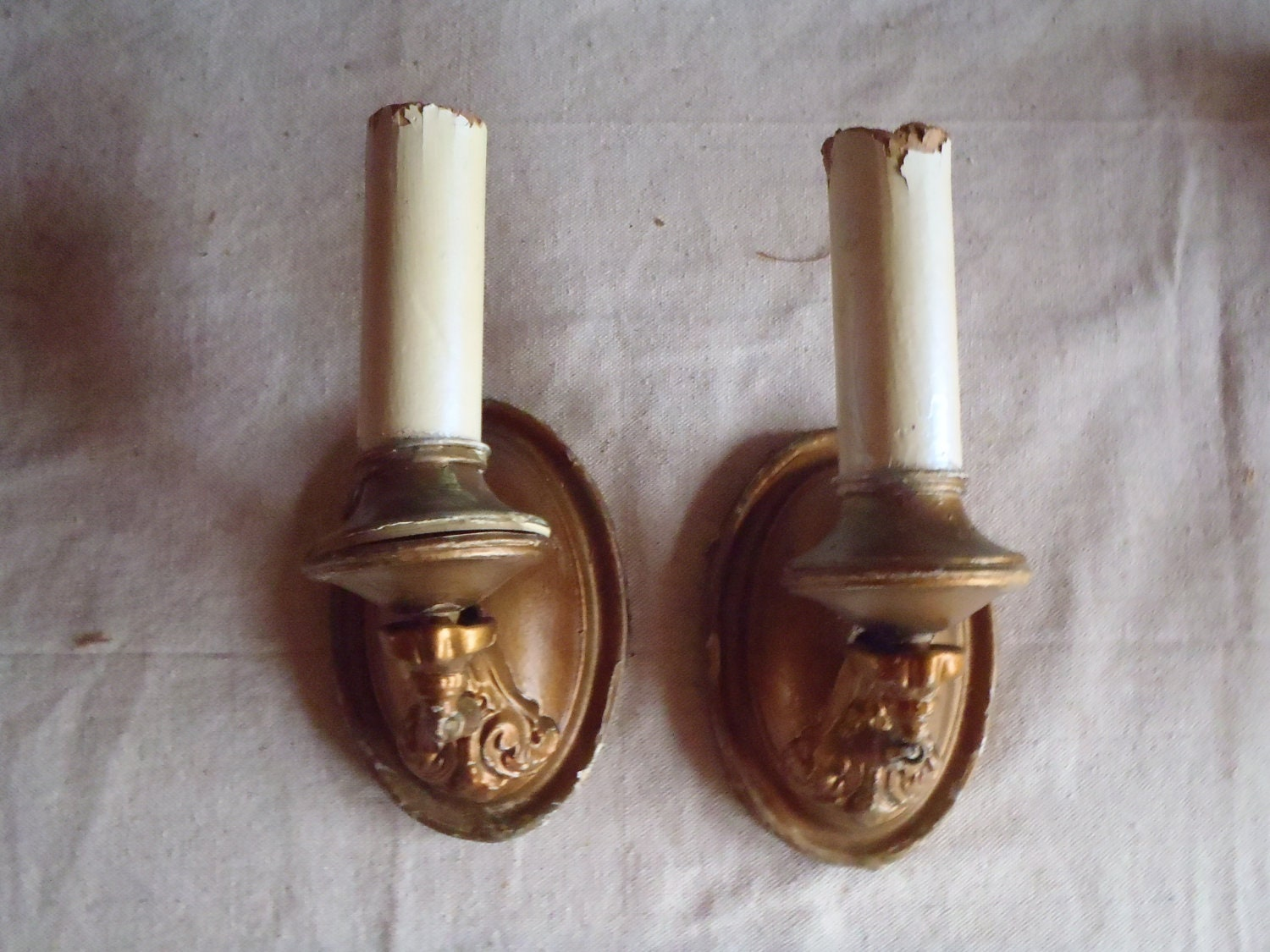 French Gold Wall Sconces : Vintage French Gold Metal Wall Sconces
