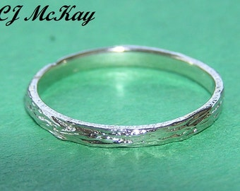 Tree Bark Wedding Band 2mm 14K White Gold CR86Q