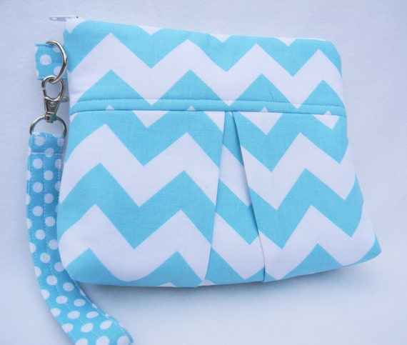 Custom Order for Rena  -  Aqua and White Chevron Pleated Wristlet Clutch with detachable strap