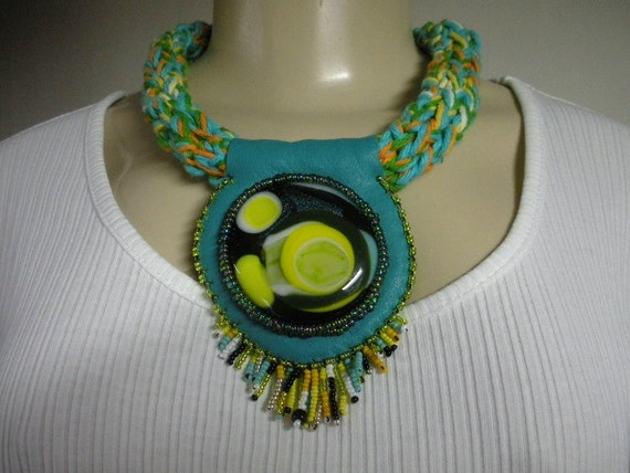 Niza Accessories LEMON PIE  ooak Recycled Leather Bead Embroidery chunky necklace with fused glass cabochon by Lauren Urban