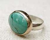 Beautiful Aqua Turquoise Cabochon Ring in 14k Gold and Sterling Silver - choose your stone