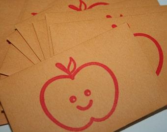 Apple Mini Envelope - Small Envelope - Coin Envelope - Gift Card - Small Manilla Envelope - Business Card Envelope - Teacher - Red Apple