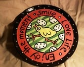 Artzfolk By Nicole Engblom Round Serving Platter With Round Dome Cover Modern and Fun Chicken Pattern